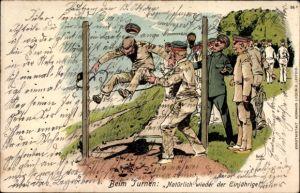 Litho Soldaten beim Turnen, Natürlich wieder der Einjährige, Hocksprung, Militärhumor