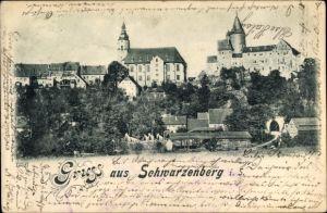 Ak Schwarzenberg im Erzgebirge Sachsen, Teilansicht vom Ort
