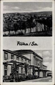 Ak Flöha in Sachsen, Blick zur Ortschaft, Bahnhof