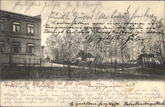 Ak Bad Lausick in Sachsen, Gruß von der Fridola, Haus vom Garten gesehen
