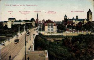 Ak Poznań Posen, Stadtbild an der Theaterbrücke, Residenzschloss, Paulikirche