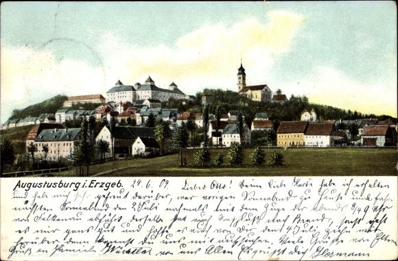 Ak Augustusburg im Erzgebirge, Kirche, Panorama vom Ort