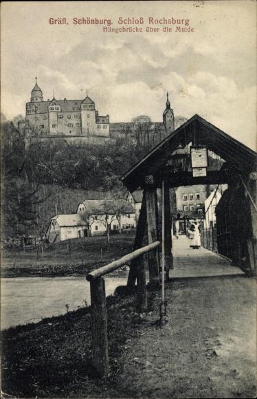 Ak Rochsburg Lunzenau Sachsen, Gräfliche Schönburg, Hängebrücke über die Mulde