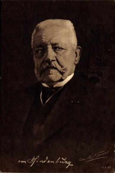 Künstler Ak Conrad, Peter Paul, Generalfeldmarschall Paul von Hindenburg, Reichspräsident 1925