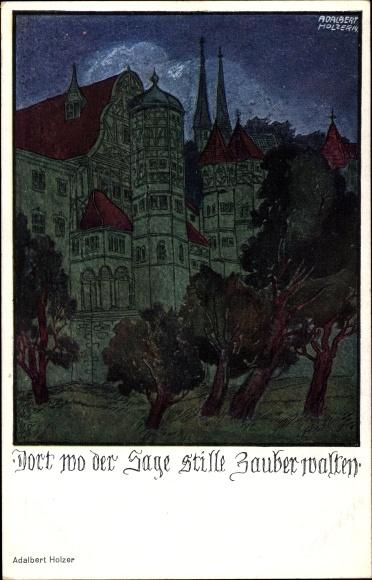 Künstler Ak Holzer, Adalbert, Dort wo der Sage stille Zauber walten, Nachtansicht,Turm