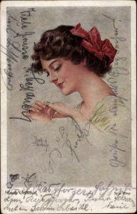Künstler Ak Gnischaf, Ruab, Sein Ring, Frau mit Ring am Finger, Schleife im Haar, Portrait