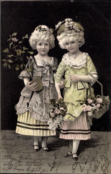 Ak zwei m dchen in kleidern blumentopf korb mit rosen for Blumentopf korb