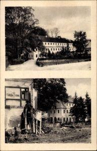 Ak Berggießhübel in Sachsen, Partie am Johann Georgen Bad vor und nach dem Unwetter 1927, Zerstörung