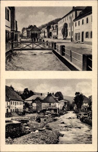 Ak Berggießhübel, Hauptstraße, Fluss, Brücke, Hochwasser am 08/09. Juli 1927