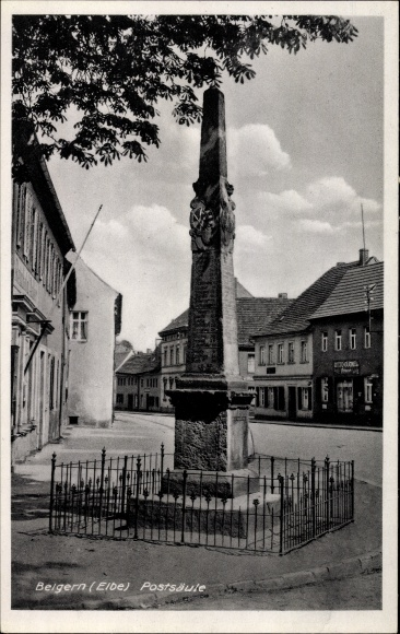 Ak Belgern Schildau in Nordsachsen, Partie an der Postsäule, Friseur, Inh. Otto Cückel