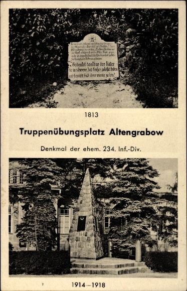Ak Altengrabow Möckern in Sachsen Anhalt, Truppenübungsplatz, Denkmal der ehemaligen 234 Inf.-Div.