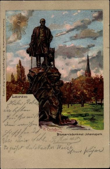 Sonnenschein Künstler Litho Carloforti, R., Leipzig, Bismarckdenkmal, Johannapark, Bruno Bürger 2013