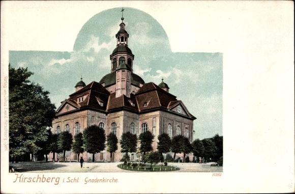 Ak Jelenia Góra Hirschberg Riesengebirge Schlesien, Ansicht der Gnadenkirche