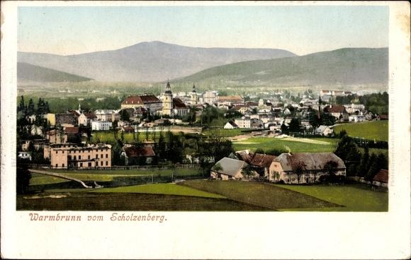 Ak Cieplice Śląskie Zdrój Bad Warmbrunn Schlesien, Blick vom Scholzenberg, Totalansicht