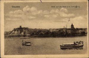 Ak Grudziądz Graudenz Westpreußen, Blick auf die Stadt und Schlossberg