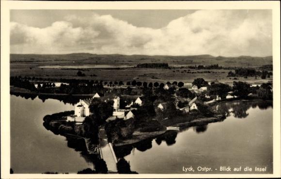 Ak Ełk Lyck Masuren Ostpreußen, Blick auf die Insel, Vogelschau