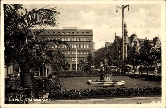 Ak Gliwice Gleiwitz Schlesien, Wilhelmstraße, Fontäne