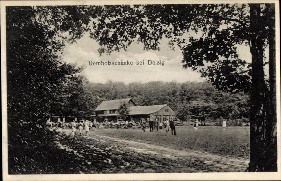 Ak Dölzig Schkeuditz in Nordsachsen, Domholzschänke, Bes. Arth ...