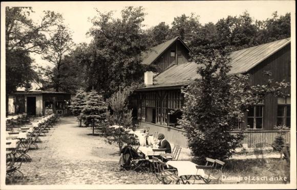 AK Schkeuditz, Partie am Gasthaus Domholzschänke Nr. 7508837 ...