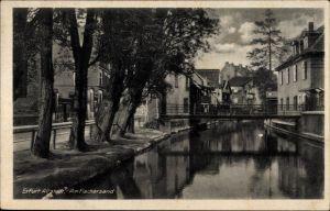 Ak Erfurt in Thüringen, Partie am Fischersand in der Altstadt, Brücke