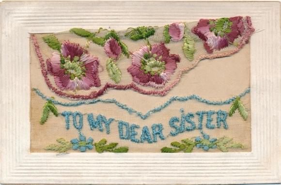 Seidenstick Ak To my dear sister, Für meine liebe Schwester