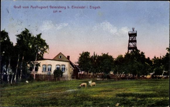 Ak Einsiedel Chemnitz Sachsen, Ausflugsort Geiersberg, Aussichtsturm