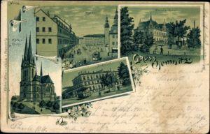 Litho Chemnitz Sachsen, Markuskirche, Markt, Bahnhof mit Straßenbahn, Carola Hotel