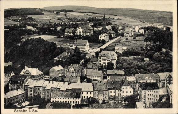 Ak Sebnitz in Sachsen, Blick über die Dächer des Ortes, Wohnhäuser, Kirche