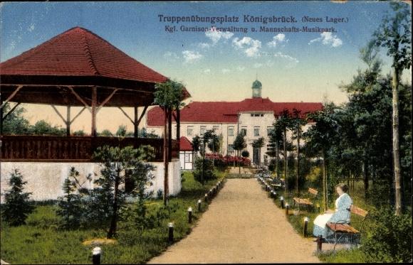 Ak Königsbrück in der Oberlausitz, Truppenübungsplatz, Neues Lager, Garnisonverwaltung und Musikpark
