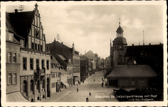 Ak Glauchau Sachsen, Leipziger Strasse mit Post, Reichsbank