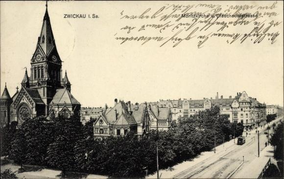 Ak Zwickau in Sachsen, Panorama, Glauchauer Straße und Moritzkirche