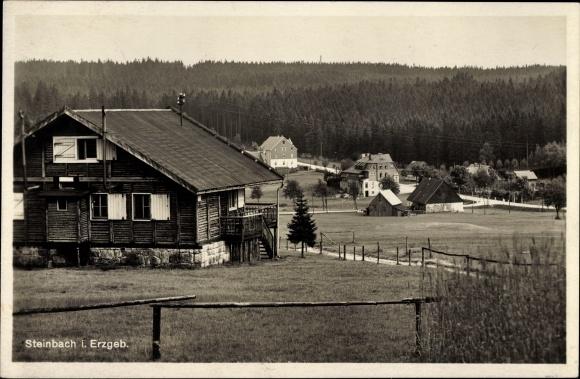 Ak Steinbach Johanngeorgenstadt im Erzgebirge Sachsen, Blick zum Ort, Wohnhaus