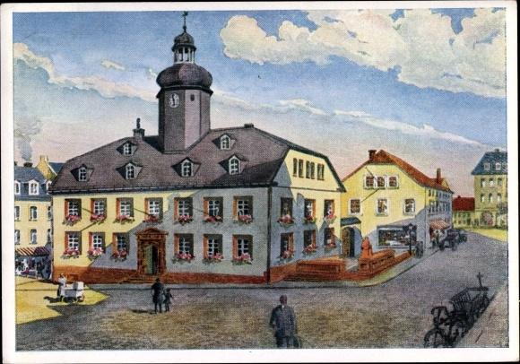 Künstler Ak Meerane in Sachsen, Blick auf das alte Rathaus