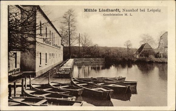 Ak Lindhardt Naunhof im Kreis Leipzig, Blick auf die Mühle Lindhardt, Josef Sitta, Gondelstation