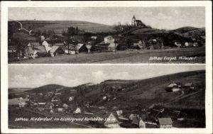Ak Zethau Mulda im Erzgebirge, Mitteldorf und Niederdorf mit Karlshöhe