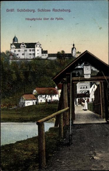 Ak Lunzenau Mittelsachsen, Gräfl. Schönburg, Schloss Rochsburg, Hängebrücke über die Mulde