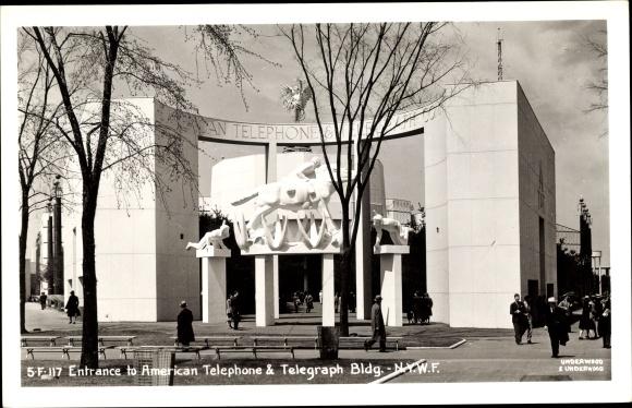 Ak New York City USA, World's Fair 1939, Entrance to American Telephone & Telegraph Building