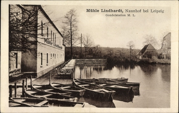 Ak Lindhardt Naunhof im Kreis Leipzig, Mühle Lindhardt, Bes. Josef Sitta, Gondelstation