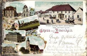 Litho Zwenkau Sachsen, Gasthof zum goldenen Adler, Inh. Herm. Ulrich, Pegauer Platz,Schule,Kirche
