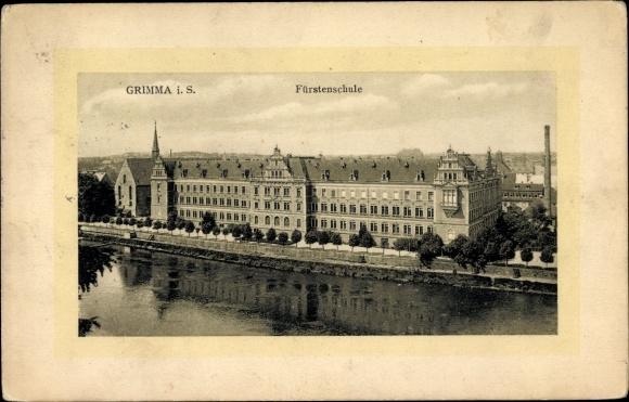 Ak Grimma in Sachsen, Blick auf die Fürstenschule aus der Vogelschau