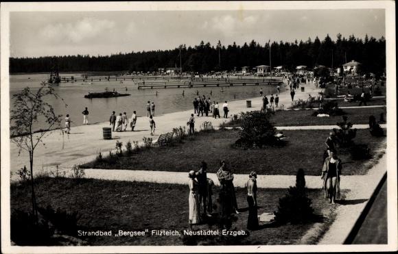 Ak Neustädtel Schneeberg im Erzgebirge, Strandbad Bergsee am Filzteich, Promenade
