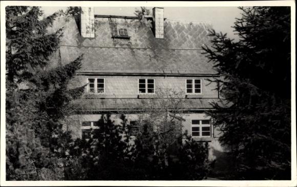 Foto Ak Schellerhau Altenberg im Erzgebirge, Partie am Fremdenheim Strecker
