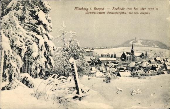 Ak Altenberg im Osterzgebirge, Blick auf die Ortschaft im Winter