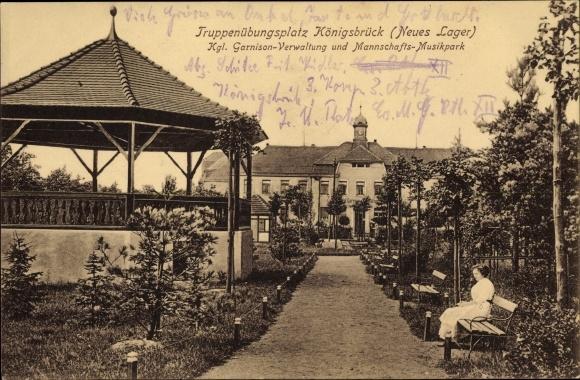 Ak Königsbrück in der Oberlausitz, Truppenübungsplatz, Kgl. Garnison Verwaltungs- Musikpark