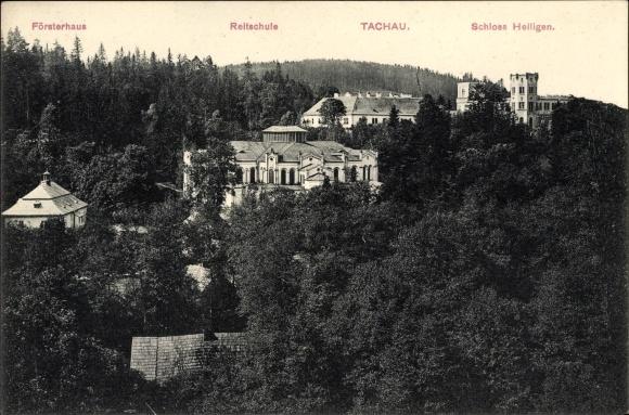 Ak Tachov Tachau Reg. Pilsen, Försterhaus, Reitschule, Schloss Heiligen