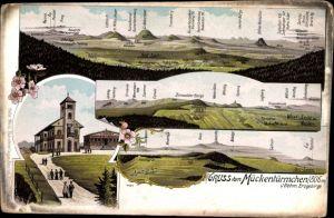 Ak Komáří hůrka Mückentürmchen Osterzgebirge Reg. Aussig, Panorama, Berge
