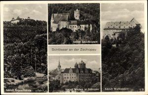 Ak Zschopau im Erzgebirge Sachsen, Schlösse Scharfenstein, Wolkenstein, Wildeck, Und Augustusburg