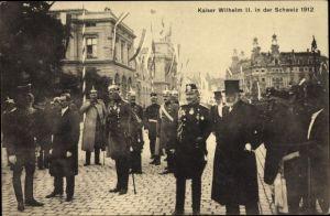 Ak Schweiz, Kaiser Wilhelm II., Staatsbesuch 1912, Ludwig Forrer