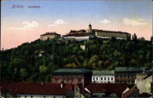 Ak Brno Brünn Südmähren, Blick hoch zum Spielberg