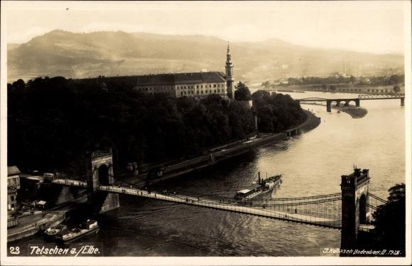 Ak Děčín Tetschen Bodenbach Elbe Reg. Aussig, Vogelschau auf die Elbe, Kettenbrücke